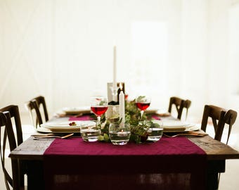 Gauze Table Runner | Cheesecloth Runner | Gauze Runner | Burgundy Wedding Decor | Maroon Table Linen | Wedding | Table Decor | Flowy Runner