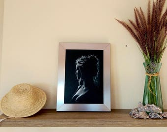 Woman backlight II. Original Painting Painting Art. Black and white paint. Painting woman. Naked painting. Painting Decoration. canvas paint
