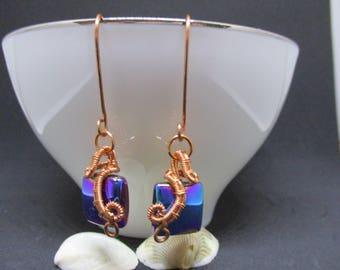 Wire Wrapped Copper Earings With Square Glass Bead handmade jewelry