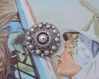 Antique Dutch Zeeland Zeeuwse Knop Knoop Flat Button Silver Brooch Pin