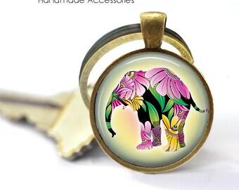 FLORAL ELEPHANT Key Ring • Pink Elephant • Flower Elephant • Asian Elephant • Buddhist Elephant • Gift Under 20 • Made in Australia (K416)