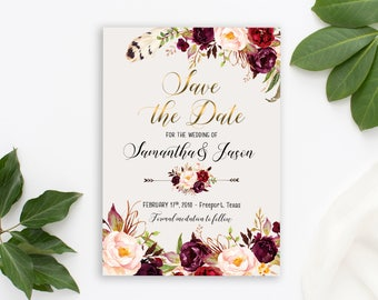 Save the Date Printable Floral Digital Wedding Marsala Burgundy Watercolor Gold letters Bohemian Save the Date Invite WS-024