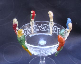 6 Unusual Small Vintage 1950's French Plastic Parrot Drinks or Glass Charms. Drink or Glass Markers