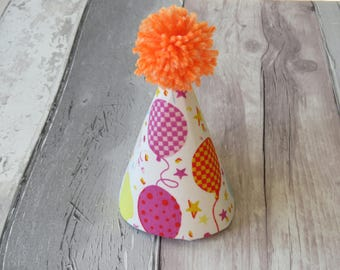 Neon Party Balloons Dog Party Hat, Birthday Hat, Dog Party Accessory
