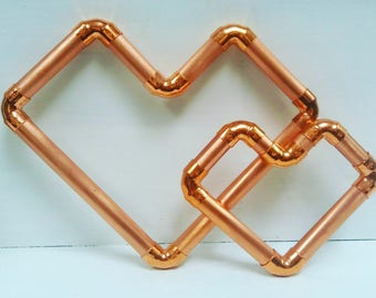 Pair of copper hearts - one large and one small