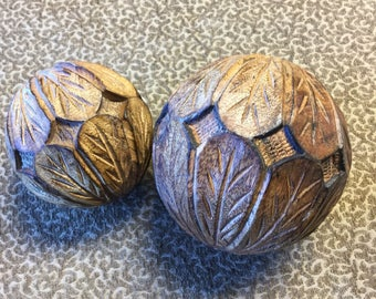 Decorative carved wooden balls!