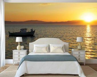 Wall Decal Sun, Wall Mural Ocean, Boat Wallpaper, Sunshine Wall Mural, Peel And Stick Wallpaper