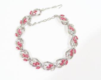 Pink trifari choker necklace