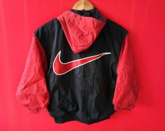 vintage nike swoosh big logo windbreaker jacket medium youth size