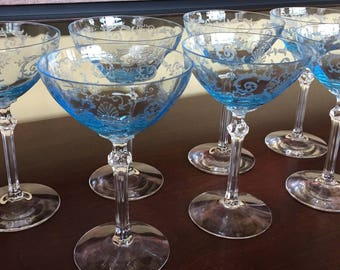 Fostoria Versailles Blue Champagne glasses, Price listed is per each