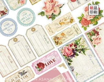 Printable shabby chic vintage rose collage sheet, for your scrapbooking, journaling, snailmailing, paper crafting!