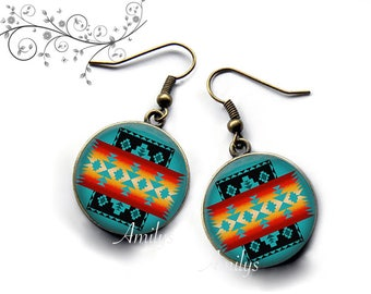 ethnic earrings, Indian, peacock blue. R198
