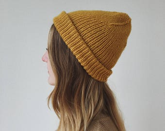 Mustard Yellow Hand Knit Ribbed Beanie