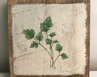 Parsley Folk Painting on reclaimed barn wood 7 3/4 x 8 1/2 by Zata Palange
