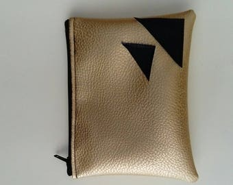Wallet / case/cosmetic ethnic gold and black color
