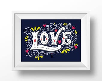 Wall decor love quote. Romantic poster. Art Print | Typography | Hand Lettering