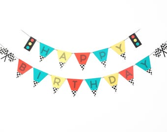 Vintage Race Car- Birthday Banner | Red, Yellow, Teal | Car theme Birthday Party