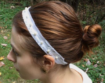 Lace and Silk Organza Bridal Headband with Vintage Pearl Beads