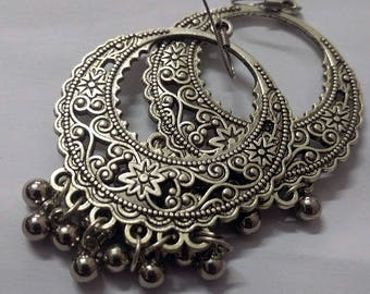 Fashionable Oxidized Earrings,Tribal Earrings,Afghani Earrings, Ethnic SIiver beaded Chandbali Long Earrings,Indian Jewelry For Women.