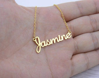 Name necklace, Custom name Jewelry, Personalized Name Necklace, Gold name necklace, Rose name Necklace, Bridesmaid Gift, birthday gift.
