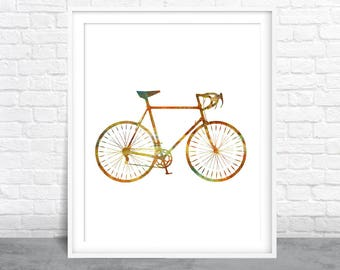 Bike wall art, Bicycle Watercolor, Cyclist art, Biking