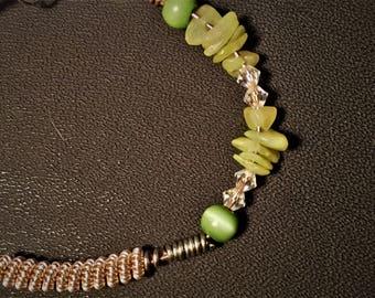 Jade and crystal bracelet