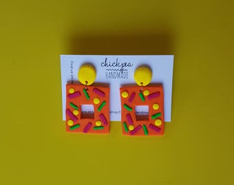 Party Dangles - bright, bold drop earrings - handmade from polymer clay