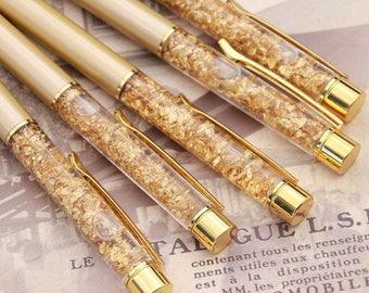 Pen - Ballpoint - Gold - 24k Gold Flakes - Refillable