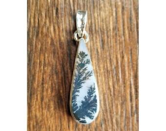 925 Sterling Silver Scenic Dendritic Agate Pendant