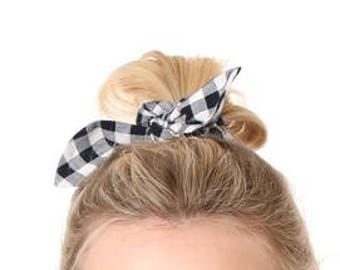 Girl toddler Black and white check knotted bow hair tie hair accessories