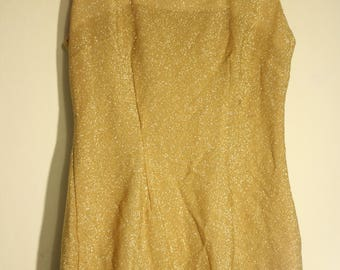 SALE ** 90's ALYN PAIGE Golden Sparkly Club/ Party Dress/ Mini Dress