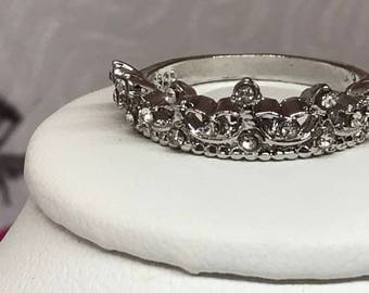 Crown Ring  Platinum Plate  CZ Crystal Size 7