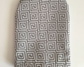 Ready to ship, ostomy bag cover , grey maze pattern , solid grey on the back