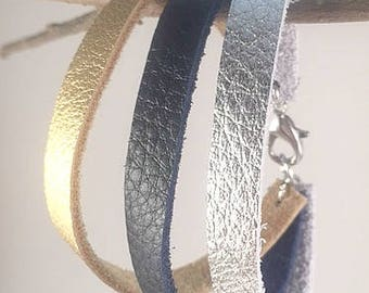 Leather Bracelet for Women, Gold, Navy and Silver Leather Bracelet, Boho Bracelet, Bohemian Bracelet, Bracelet for Her, Gift for Her