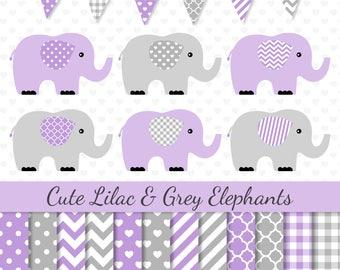 Elephants Clipart Purple Grey Elephants Clip Art Purple Digital Paper Baby Shower Clipart Nursery Art