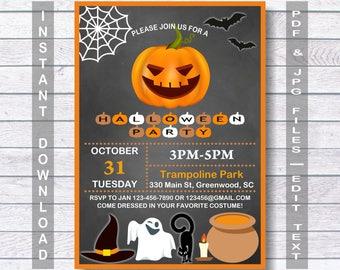 Halloween Invitations, Halloween Party Invitations, INSTANT DOWNLOAD, Printable Halloween Invitation, Halloween