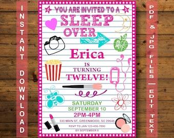sleepover invitation slumber party invitation instant download teen invitation pajama party - Sleepover Birthday Party Invitations