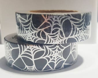 Black Washi Tape with Silver Foil Webs (Full Roll)