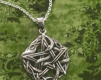 Entwined Snake Pentacle Necklace - Sterling Silver