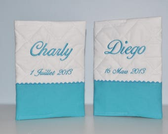 Twins duo protectors-turquoise health books custom embroidered