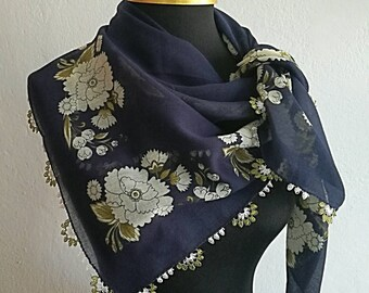 Turkish oya scarf with needle lace edging, navy blue pure cotton, floral Turkish oya scarf with vintage print and needle lace edging