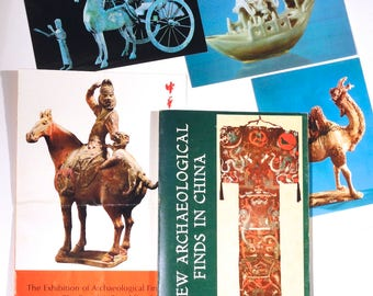 Lot: New Archaeological Finds in China, by Foreign Languages Press - 1974, softbound; plus Exhibition Guide & Postcards