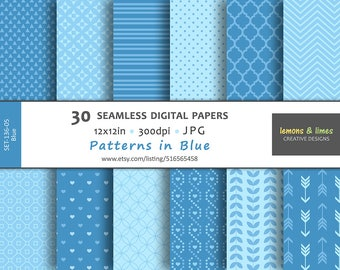 Patterns in Blue - Digital Papers - JPG-300dpi-12x12in - Backgrounds, Scrapbook, Patterns, SET-136-05-Blue, Powder Blue, Baby Blue pattern
