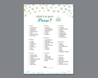 Whats in Your Purse, Baby Shower Games Printable, Blue Gold Hearts, Confetti, Purse Raid, Purse Hunt, What's In Your Bag, Download, B002