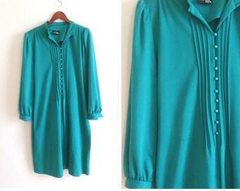 vintage teal dress, 1970s knit dress faux pearl buttons long sleeve dress knit shift dress knee length dress women's large warm winter dress