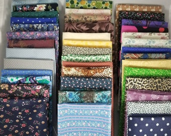 Free Ship! 40 Pre-cut Assorted Fabrics 12x12 Oversized