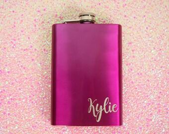 Engraved Flasks- Personalized Flasks, Monogrammed Bachelorette Party Flasks, Bachelorette Pary Flasks, Pink Flasks, Bridal Flasks, Flask
