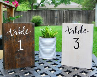 Rustic Wooden Table Numbers - Wedding Table Numbers - Event Table Numbers