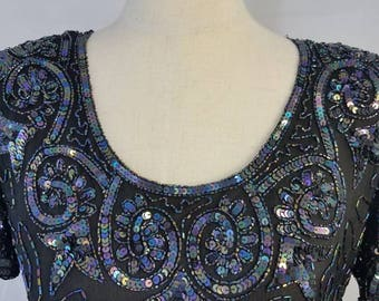 Beautiful black sequin/beaded vintage full length gown