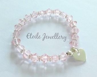 Girls Pink Bracelet, Silver Heart Bracelet, Childrens Bracelets, Glass Bead Bracelet, Beaded Bracelets, Stretch Bracelets, Silver Bracelet